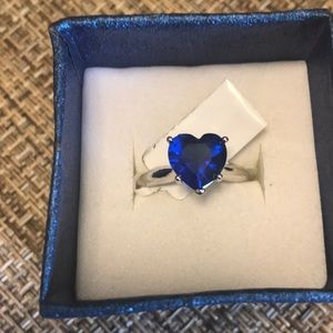 Swarovski Blue Heart Ring Size 8 3/4